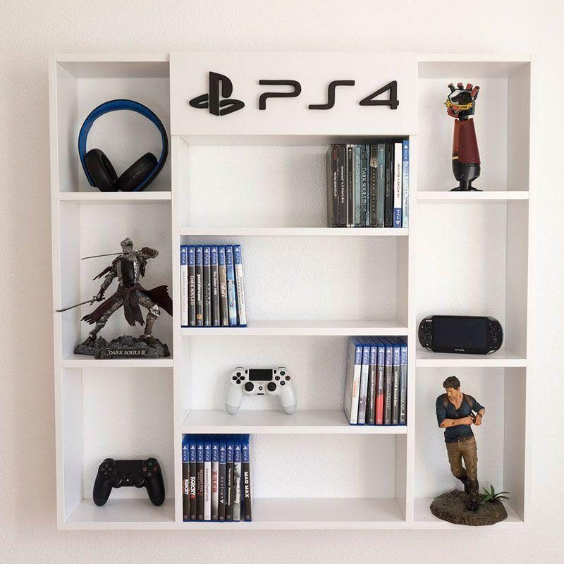 estanteria de pared para juegos