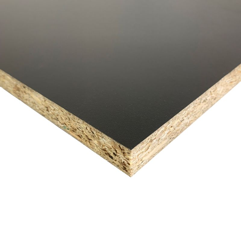 Soft black laminated chipboard